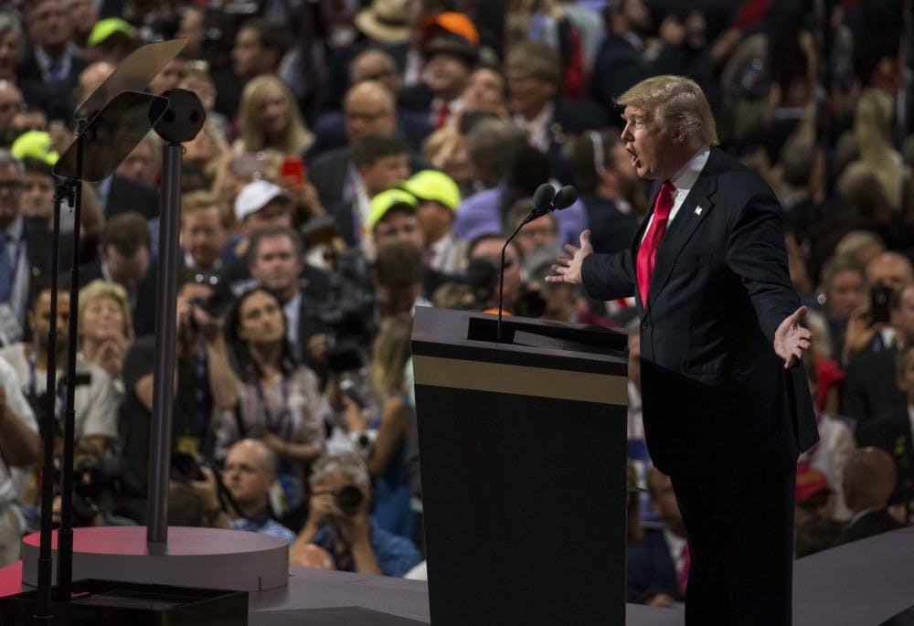 Republican presidential nominee Donald Trump speaks to the audience Thursday evening at the Quicken Loans Arena in Cleaveland, Ohio  during his speech accpeting the Republican presidential nomination.