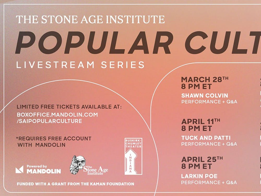 """The Stone Age Institute's schedule for its virtual series """"Popular Culture"""" appears. The a six-part series will include musical and dance performances every Sunday from March 28 to May 2."""