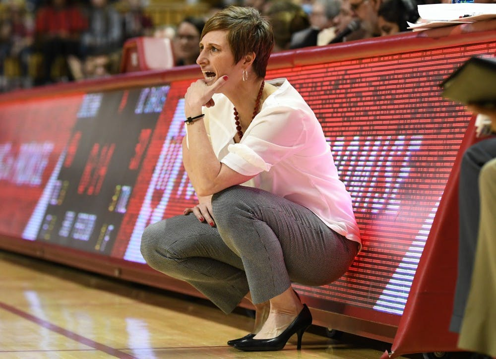 <p>IU Coach Teri Moren looks on during the game against UC Davis on March 25 in Simon Skjodt Assembly Hall. The 2018-19 season starts on Nov. 2, and Moren has more depth on the roster this year than she did last year.&nbsp;</p>