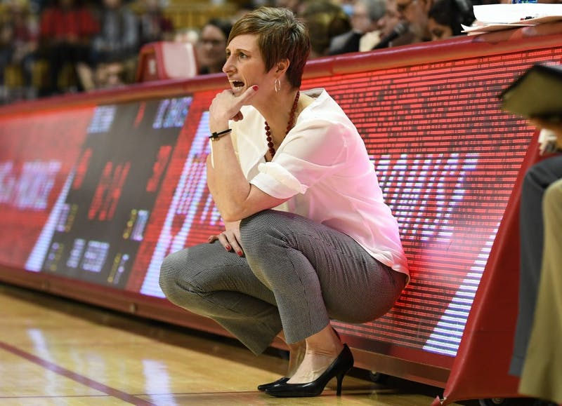 IU Coach Teri Moren looks on during the game against UC Davis on March 25 in Simon Skjodt Assembly Hall. The 2018-19 season starts on Nov. 2, and Moren has more depth on the roster this year than she did last year.