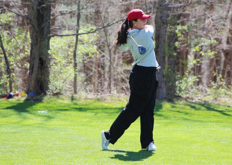 Then-senior, now IU alumna Ana Sanjuan tees off during the first round of the April 2017 IU Invitational at IU Golf Course. In its first tournament of the season, junior Priscilla Schmid led the IU women's golf team to a seventh-place finish out of 15 schools in Albuquerque, New Mexico on Tuesday afternoon.