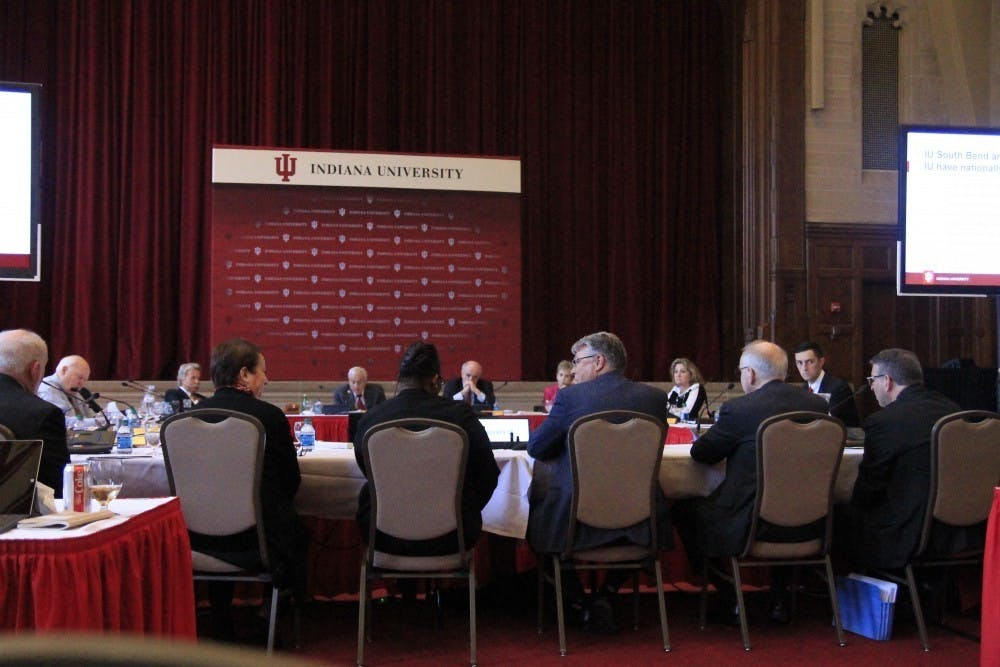 <p>IU Board of Trustees meets April 5, 2018, in the Indiana Memorial Union. The board approved President Michael McRobbie&#x27;s recommendation toincreasethe IU&#x27;s minimum wage<strong></strong>from $12.33 an hour to $13.66 an hour, and eventually up to $15.</p>
