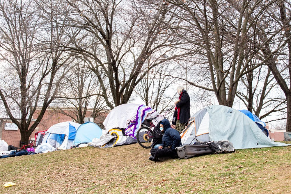 <p>Tents set up Dec. 8 sit in Seminary Park at 100 W Second Street. The Bloomington Board of Park Commissioners struck down a policy change that would have prohibited encampments on any city structure or property any time of the day without a permit.</p>