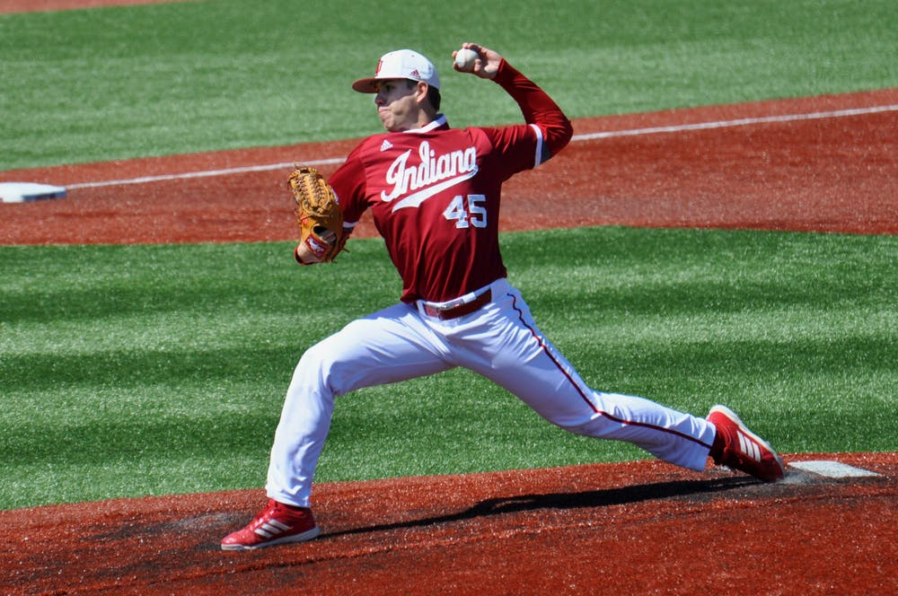 <p>Then-senior pitcher Caleb Baragar pitches on the mound April 9, 2016, against Purdue at Bart Kaufman Field. Baragar has been named to the San Francisco Giants&#x27; 60-man roster, becoming the sixth former Hoosier to be named to a major league roster for the 2020 season.</p>
