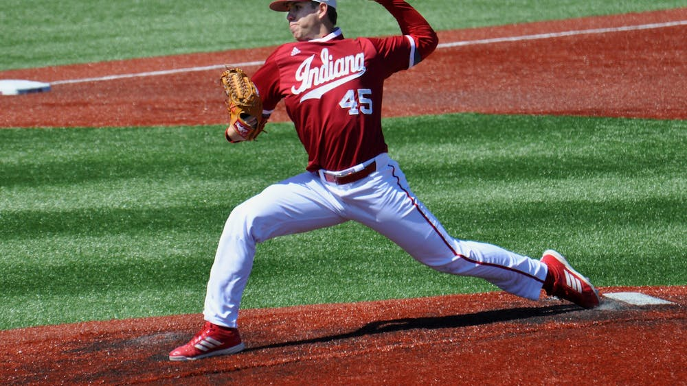 Then-senior pitcher Caleb Baragar pitches on the mound April 9, 2016, against Purdue at Bart Kaufman Field. Baragar has been named to the San Francisco Giants' 60-man roster, becoming the sixth former Hoosier to be named to a major league roster for the 2020 season.