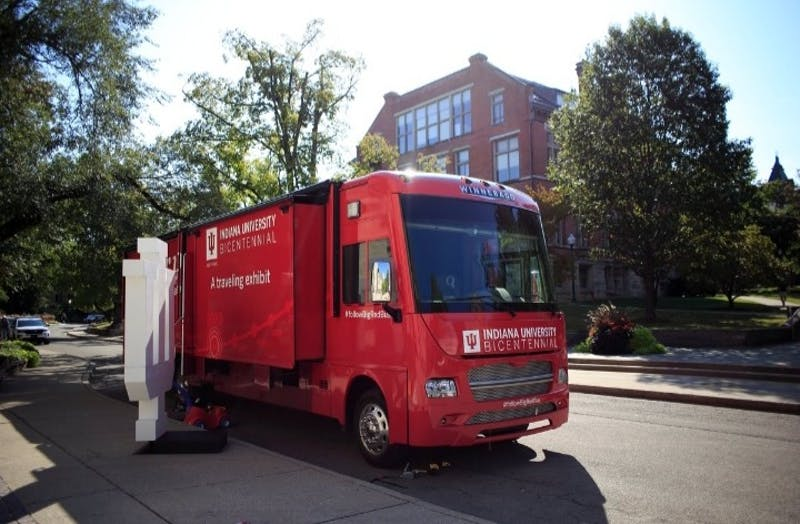 "IU's Office of the Bicentennial is taking IU's history on the road with its interactive exhibit on the ""Big Red Bus."""
