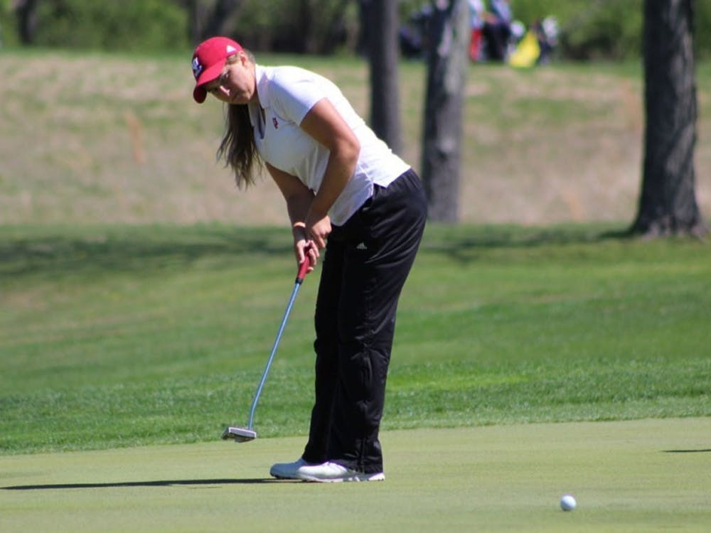 Then-sophomore, now-senior Erin Harper putts during the first round of the IU Invitational on April 8, 2017, at the IU Golf Course. Harper finished the 2018 Mary Fossum Invitational tied for sixth place.