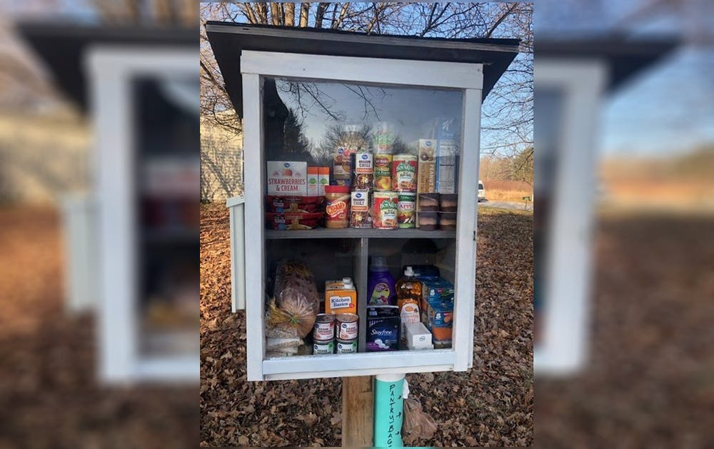 <p>One of the Little Free Pantries in Bloomington. The pantries, located around the city, have seen recent vandalism.</p>
