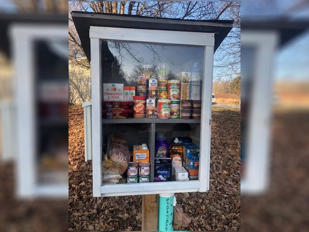 One of the Little Free Pantries in Bloomington. The pantries, located around the city, have seen recent vandalism.