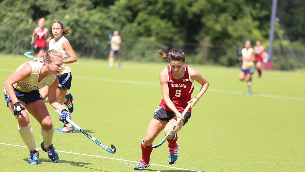 Senior Caitlin Bearish protects the ball in the IU's game against UC Davis on Sept. 6 at the Field Hockey Complex.