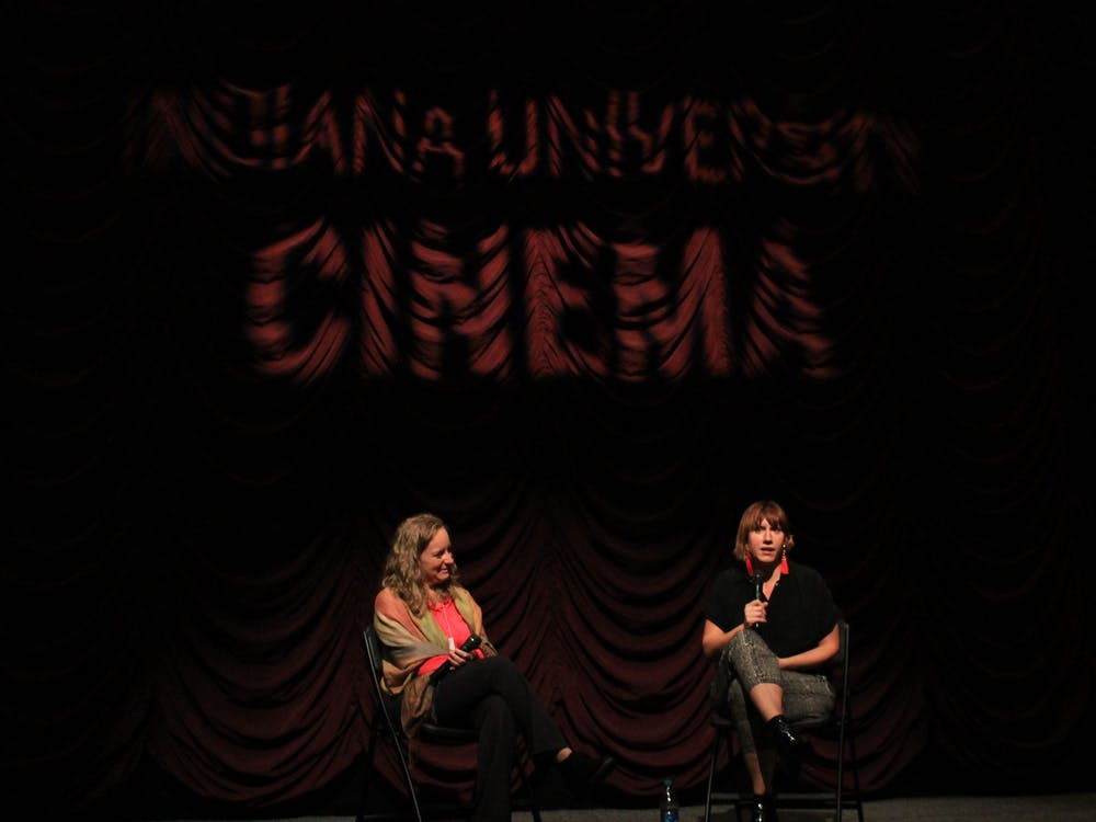 """""""Buckjumping"""" director Lily Keber, right, answers an audience member's question Nov. 6 at the IU Cinema. """"Buckjumping,"""" a documentary on New Orleans dance culture, was shown prior to an onstage conversation between folklore and ethnomusicology faculty member Jennie Gubner, left, and Keber."""