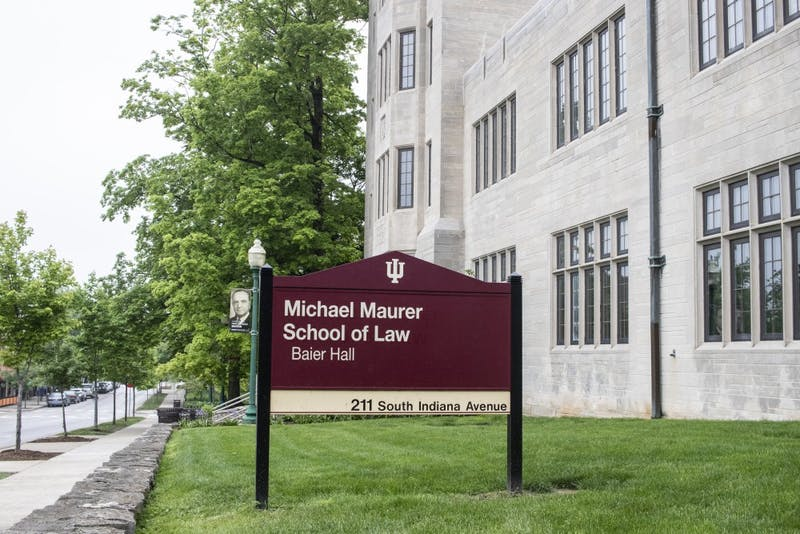Lowell E. Baier Hall contains the Maurer School of Law and is located on Indiana Avenue.