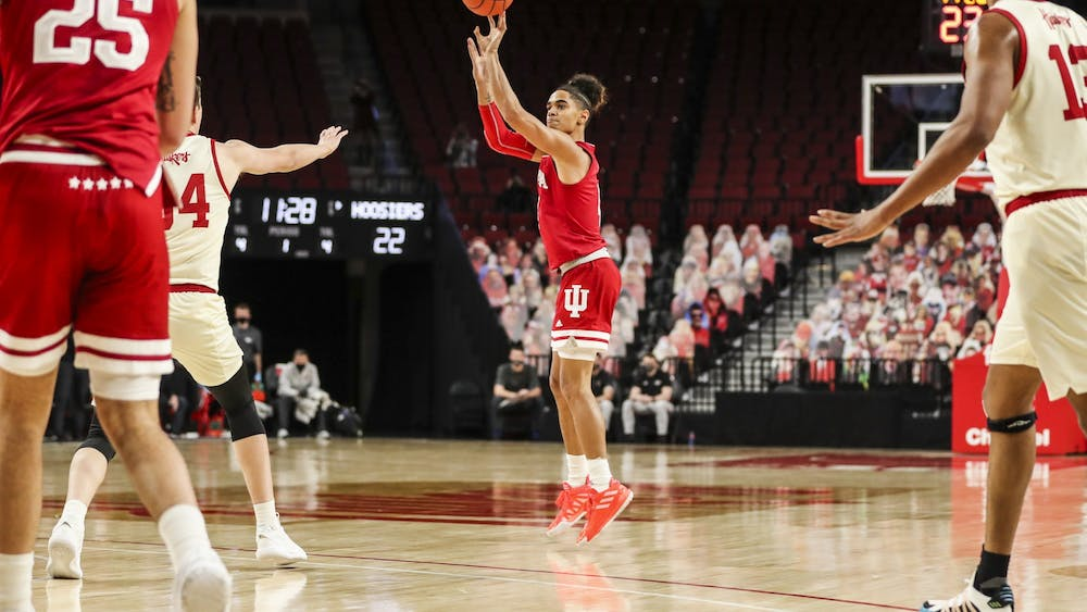 Freshman guard Khristian Lander shoots during the game against the Nebraska Huskies on Sunday at Pinnacle Bank Arena in Lincoln, Nebraska. Lander finished with 3 points.