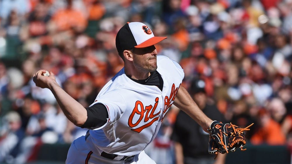 Baltimore Orioles pitcher Darren O'Day pitches in the ninth inning against the New York Yankees on April 9, 2017, at Oriole Park at Camden Yards in Baltimore.