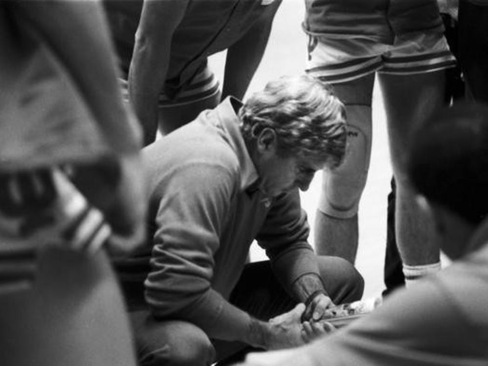 Bob Knight coaches inside the huddle Dec. 13, 1985, during a game against Louisiana Tech University at Simon Skjodt Assembly Hall. The Hoosiers would go on to end the season as a No. 3 seed in the NCAA Tournament, where they lost in the first round to No. 14 seed Cleveland State University.