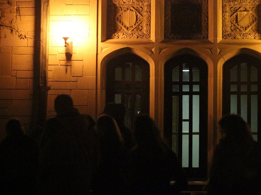 The ghost walk began at around 8 p.m. Tuesday night. About 50 people trekked around campus for the tour.
