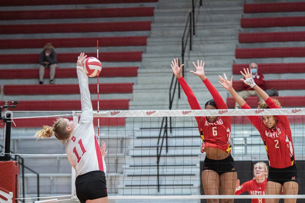 <p>Junior outside hitter Breana Edwards spikes the ball against Maryland on March 6. IU won against Maryland on Friday 3-0, and lost on Saturday 1-3. </p>