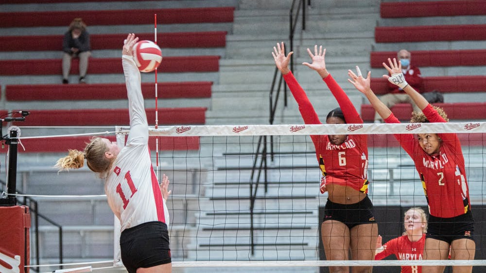 Junior outside hitter Breana Edwards spikes the ball against Maryland on March 6. IU won against Maryland on Friday 3-0, and lost on Saturday 1-3.