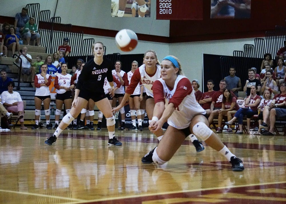 <p>Then-sophomore Kendall Beerman dives to return the ball in a game against Florida Gulf Coast University on Sept. 16, 2017, at University Gym. Beerman has suffered two torn ACLs in her playing career.</p>