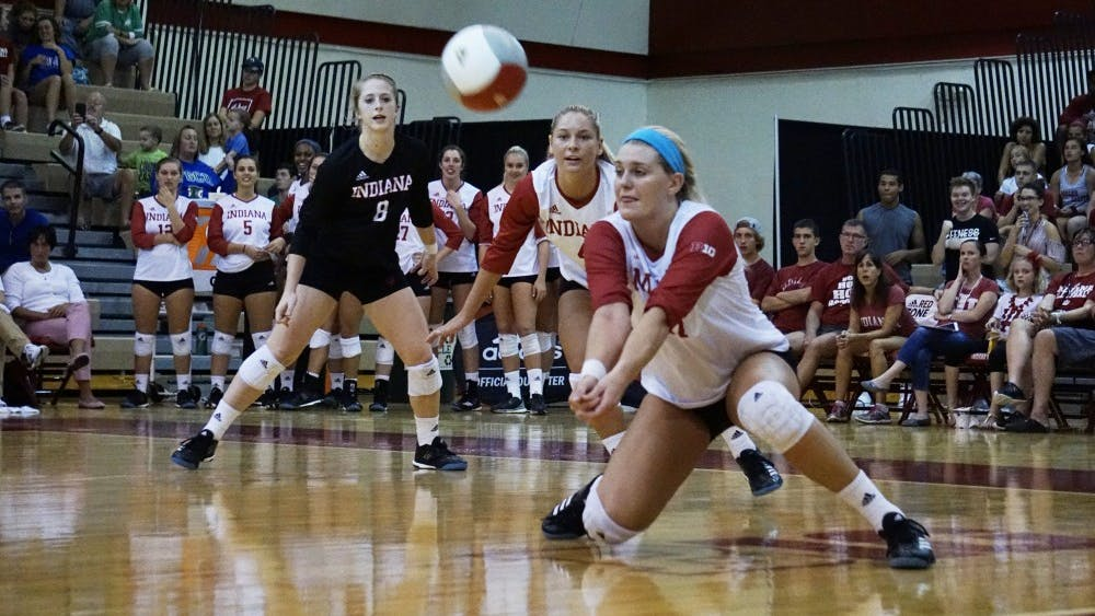 Then-sophomore Kendall Beerman dives to return the ball in a game against Florida Gulf Coast University on Sept. 16, 2017, at University Gym. Beerman has suffered two torn ACLs in her playing career.