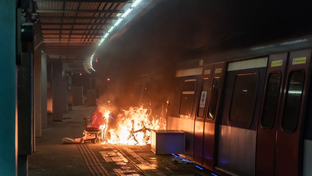 A fire is seen at an MTR station Nov. 13 during a demonstration at the Chinese University of Hong Kong in Hong Kong, China.