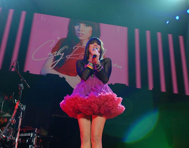"""Carly Rae Jepsen performs Sept. 30, 2012, as she opens for Justin Bieber at the MGM Grand Garden Arena in Las Vegas in support of her new album, """"Kiss."""""""