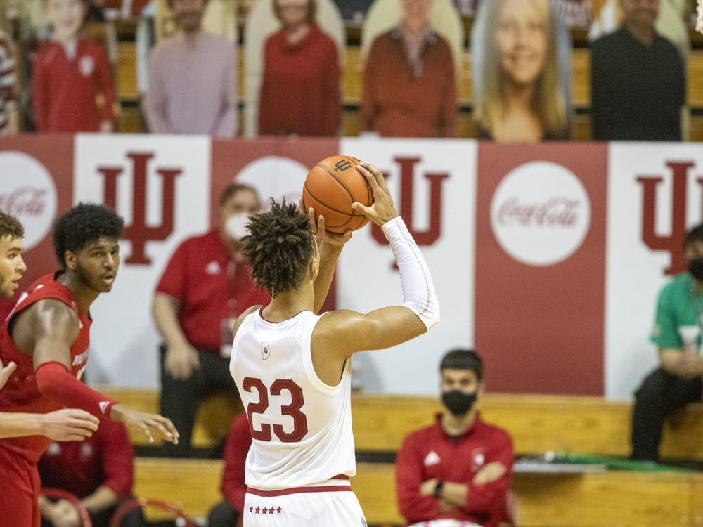 Sophomore forward Trayce Jackson-Davis prepares to shoot a free throw Jan. 24 in Simon Skjodt Assembly Hall. Jackson-Davis finished with 21 points Wednesday in IU's 63-74 loss to Rutgers.