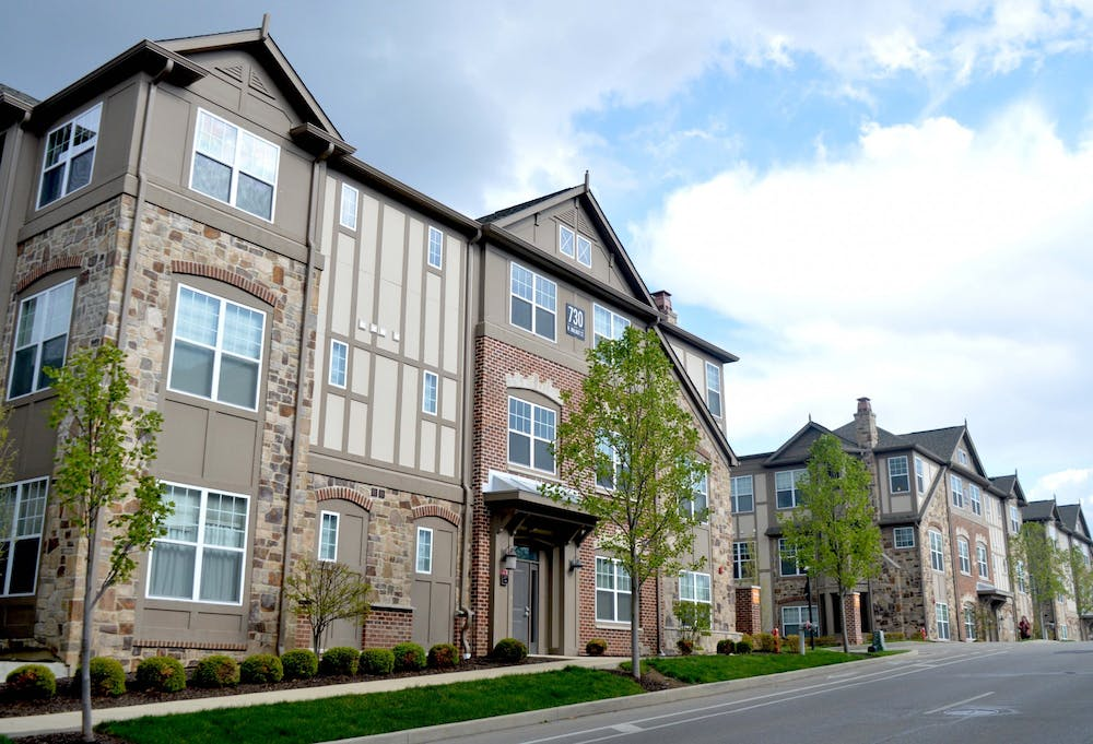 <p>City Flats on Walnut apartments appear April 21 on Walnut Street. The Bloomington City Council passed an amendment with certain restrictions for developing duplexes in single-housing neighborhoods.</p>