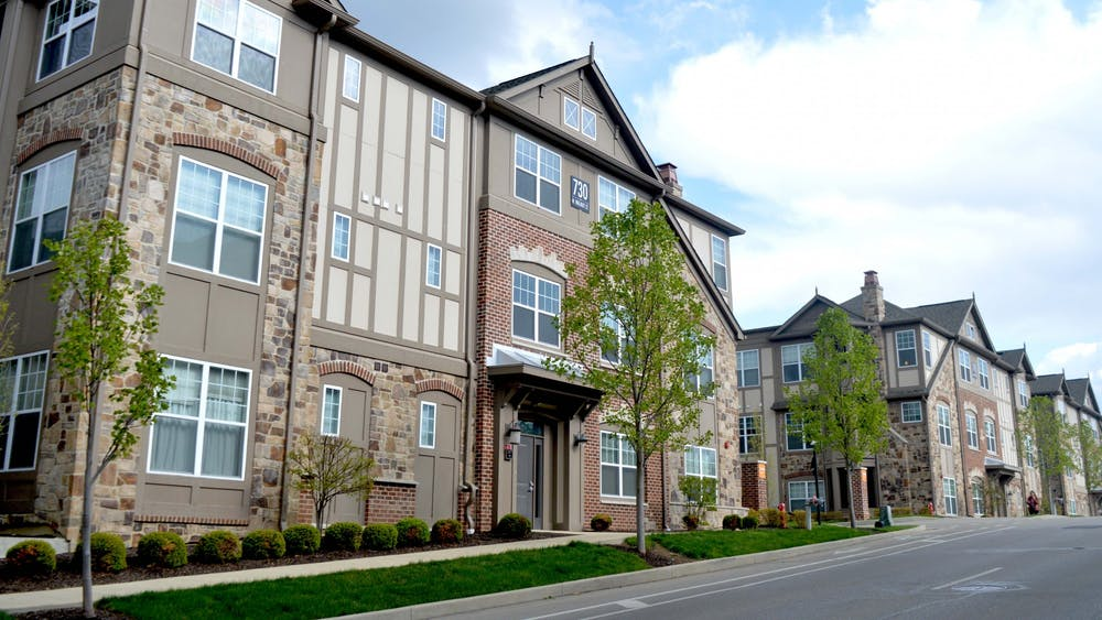 City Flats on Walnut apartments appear April 21 on Walnut Street. The Bloomington City Council passed an amendment with certain restrictions for developing duplexes in single-housing neighborhoods.