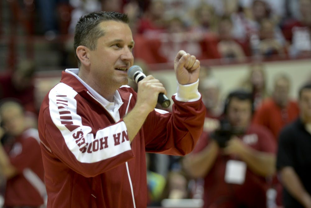 New women's basketball head coach Curt Miller speaks during Hoosier Hysteria on March 28, 2012, at Assmeby Hall.