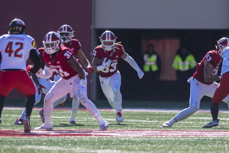 Redshirt senior running back Ricky Brookins returns a kick during a game against Maryland Nov. 10 at Memorial Stadium. IU's 34-32 win over Maryland was only its second conference win of the season.