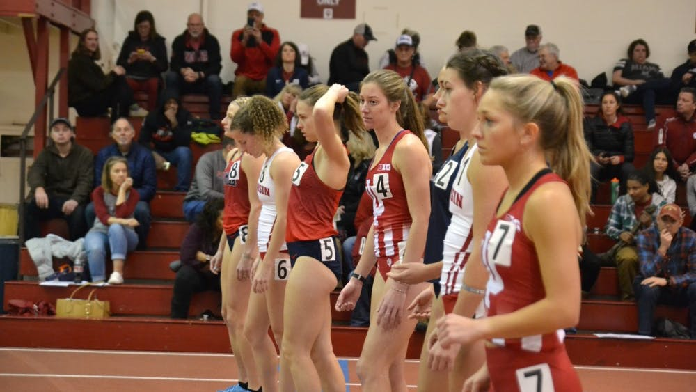 Haley Harris, number 4, waits before the start of the women's 1-mile run Jan. 26 at the IU Relays at Gladstein Fieldhouse. Harris won the event with a time of 4:43.44.