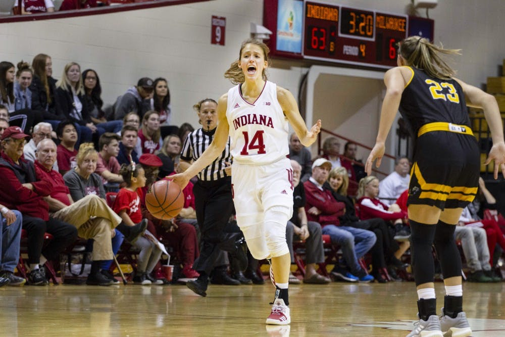 <p>Junior Ali Patberg dribbles the ball down the court during a game against Milwaukee on Nov. 7 in Simon Skjodt Assembly Hall. Patberg scored 16 points, the second most of the night.&nbsp;</p>