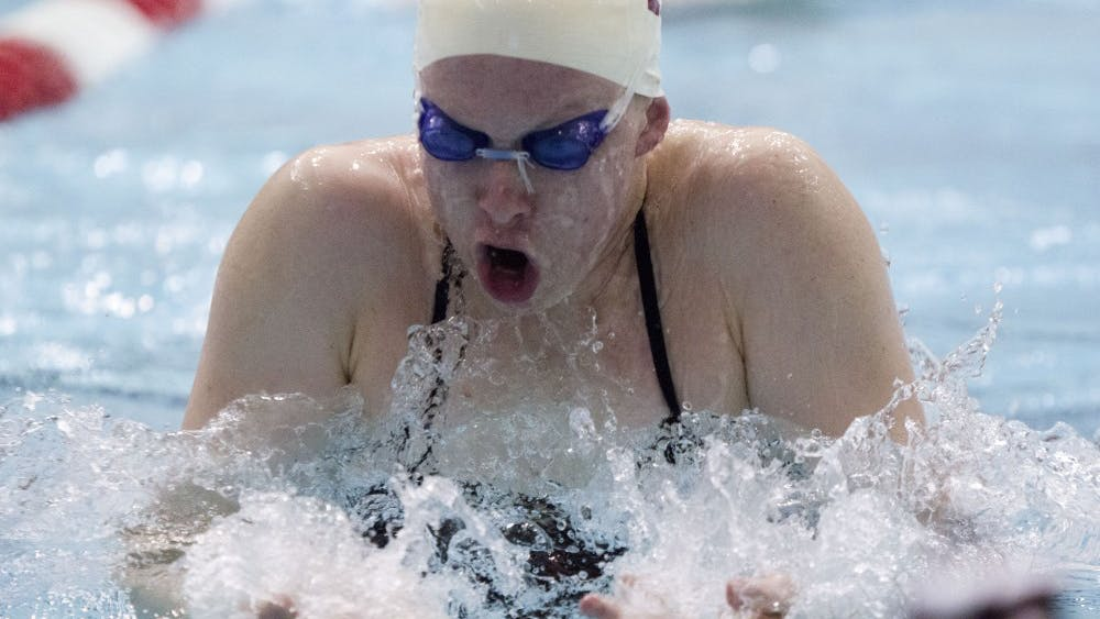 Then-freshman, now senior, Lilly King practices Dec. 7, 2015, in the Counsilman-Bilingsley Aquatic Center. King will be on the Big Ten team this weekend in the ACC/Big Ten Challenge.