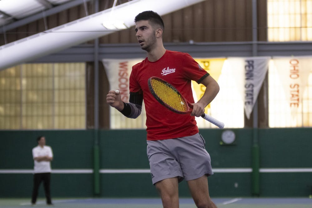 <p>Then-freshman Luka Vukovic runs toward the back of the court in a match against Dartmouth College on Feb. 29, 2020, at IU Tennis Center. IU will play 16 Big Ten dual matches this season with seven of them at home.</p>