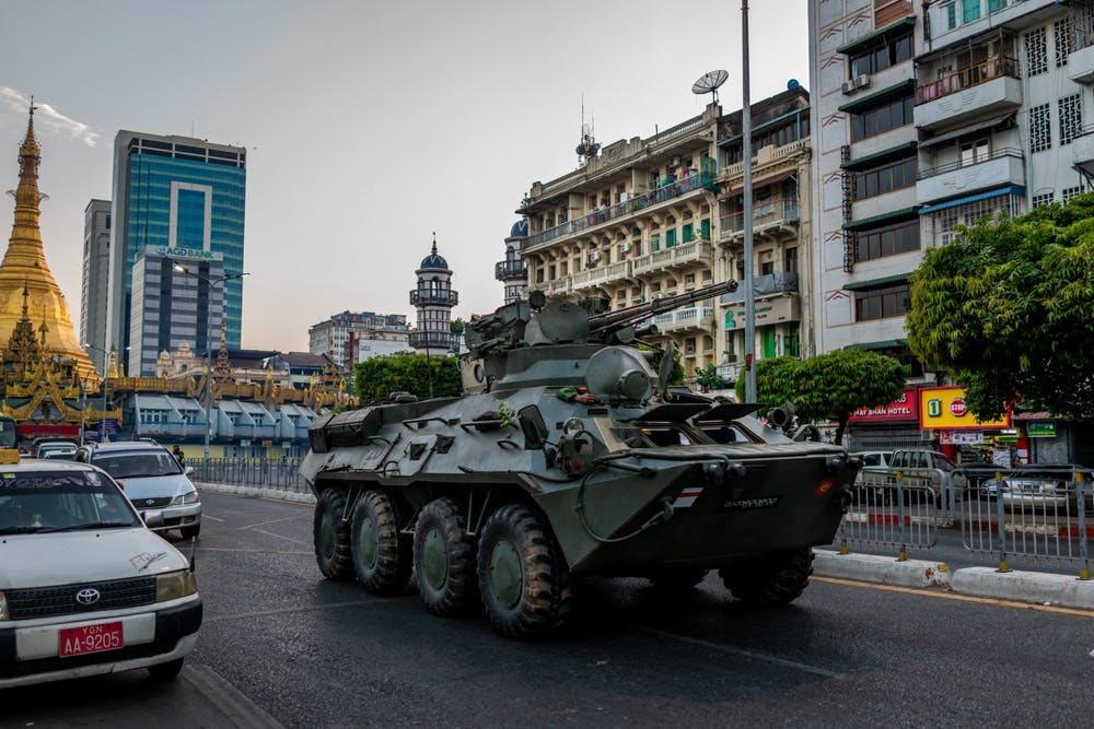<p>An armed military vehicle is seen driving Sunday in Yangon, Myanmar. Many IU students with family in Myanmar have  advocated for their families during the country&#x27;s political unrest. </p>