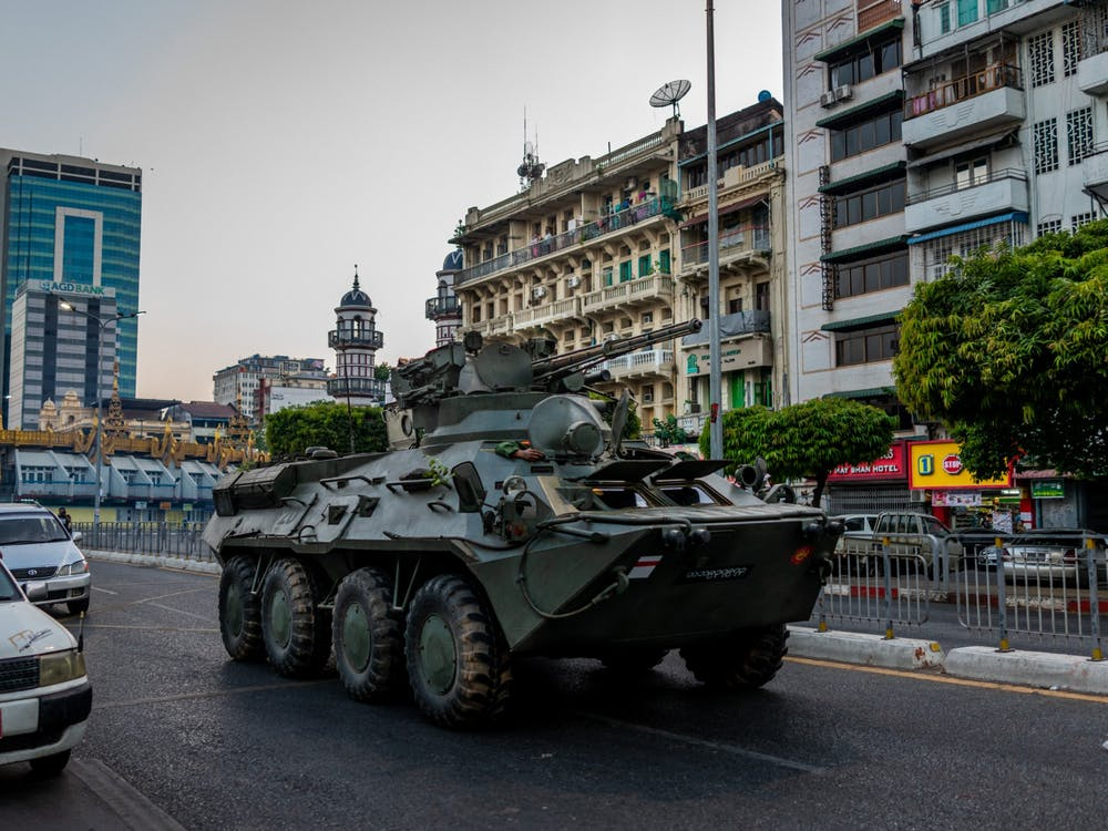 An armed military vehicle is seen driving Sunday in Yangon, Myanmar. Many IU students with family in Myanmar have  advocated for their families during the country's political unrest.