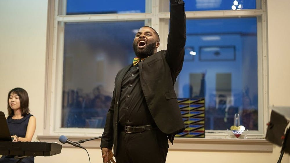 Tislam Swift performing at the Bloomington Black y Brown Arts Festival in 2019. The City of Bloomington is seeking artists for 2021's Black y Brown Arts Festival, according to a press release.