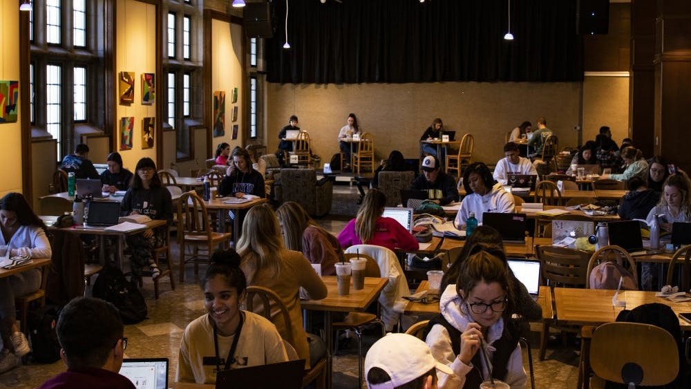 IU students study in the seating area across Starbucks on Oct. 27 in the Indiana Memorial Union. Senior Dhruv Kapoor performed Friday during the Noon Concert Series.