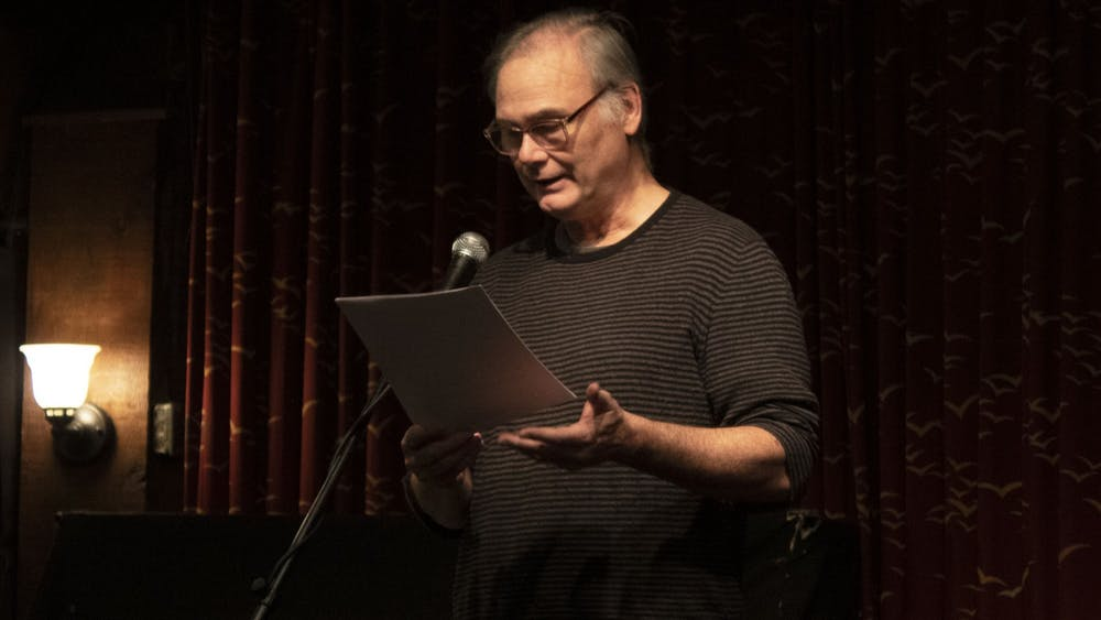"""Chicago resident Terry Brennan reads from a novel-in-progress titled """"Bonsai Boy."""" Brennan grew up in Bloomington and attended the First Sunday Prose Reading and Open Mic event at Bear's Place with a local friend."""