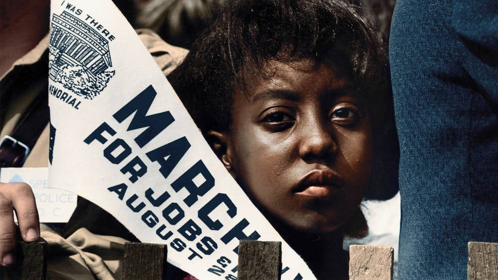 A girl holds a banner Aug. 28, 1963, at the Civil Rights March on Washington, D.C.