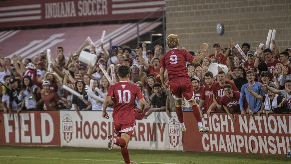 Freshman Samuel Sarver jumps in celebration after scoring a goal against Xavier on Sept. 6, 2021, at Bill Armstrong Stadium. Sarver scored to help lift Indiana to a 1-0 victory over Xavier.