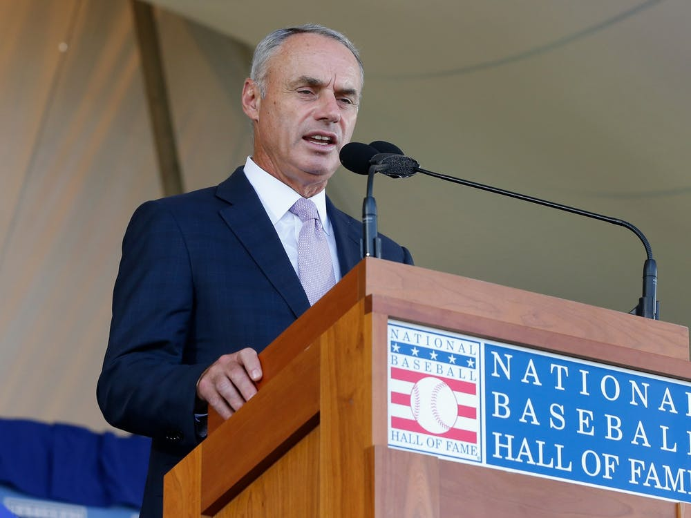 MLB commissioner Rob Manfred speaks during the Baseball Hall of Fame induction ceremony July 29, 2018, at Clark Sports Center in Cooperstown, N.Y.