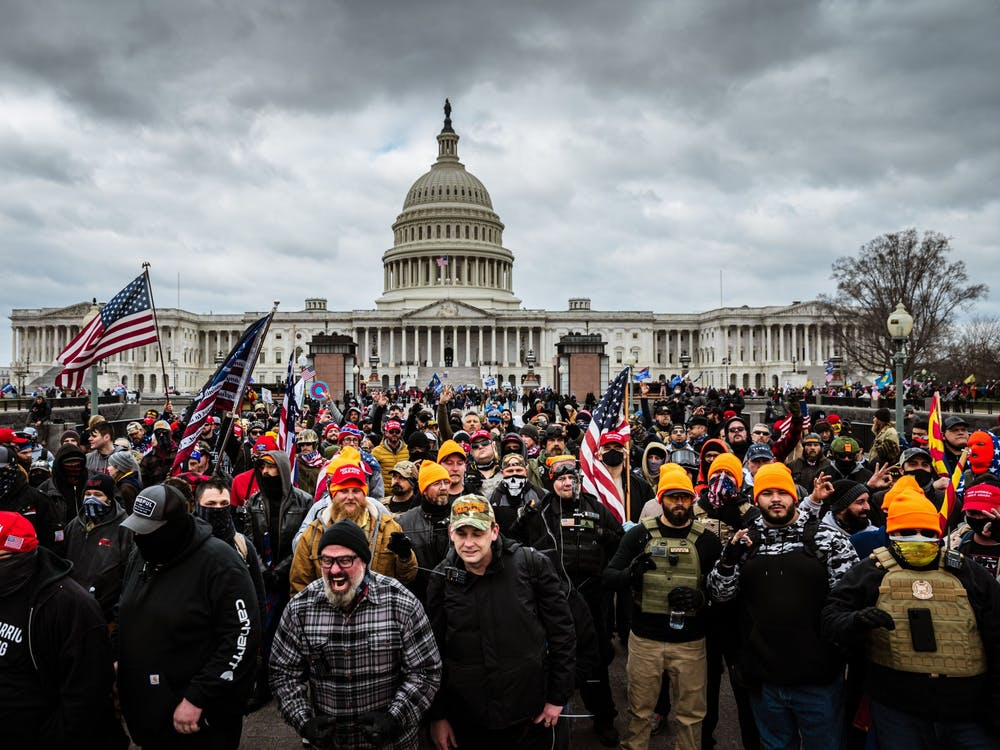 A mob of supporters of outgoing president Donald Trump congregate outside of the U.S. Capitol Building on Jan. 6 in Washington, D.C.