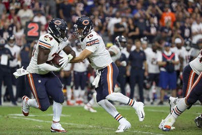 Chicago Bears quarterback Mitch Trubisky (10) hands off the ball to Chicago Bears running back Jordan Howard (24) during the second half against the Arizona Cardinals on Sunday, Sept. 23, 2018 at State Farm Stadium in Glendale, Arizona.