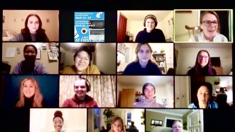 """A screenshot shows cast and crew members of """"Waycross"""" during one of their early rehearsals over Zoom. """"Waycross"""" will be available for download March 31."""
