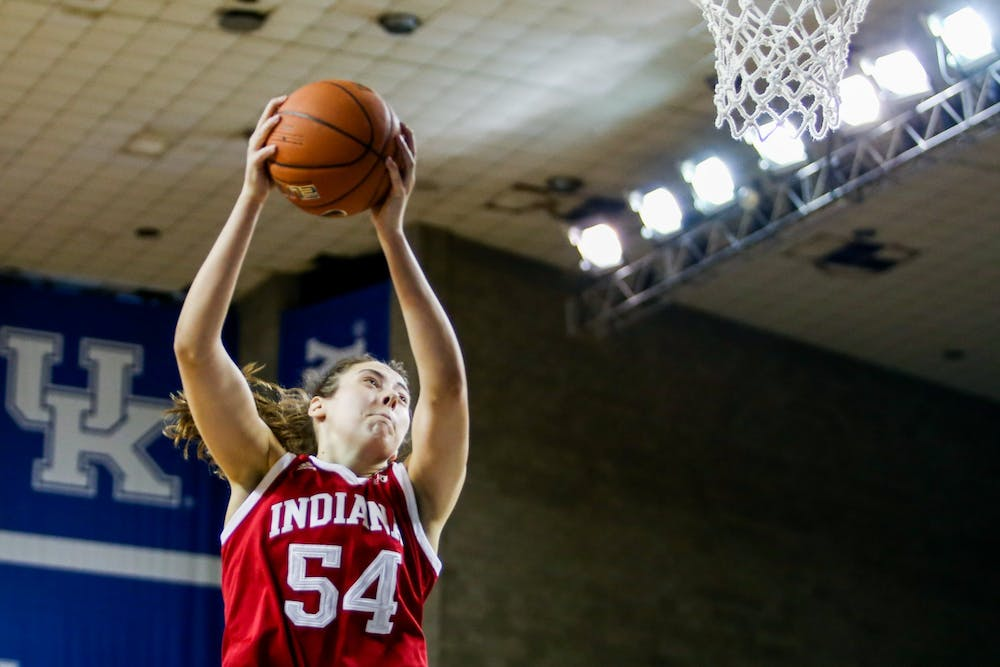 <p>Sophomore Mackenzie Holmes plays Dec. 6 against the University of Kentucky in Lexington, Kentucky. IU defeated Illinois 79-56 on Thursday.<br/><br/></p>