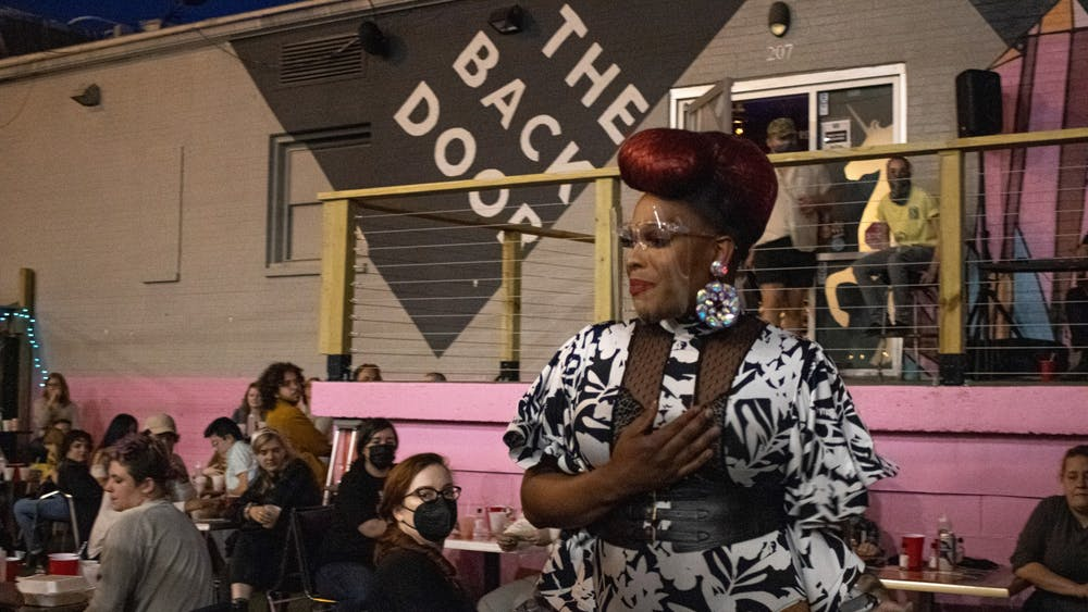 Mocha Debeauté performs Saturday night at The Back Door in Bloomington. The Back Door, an LGBTQ inclusive nightclub, reopened Saturday night after temporarily closing due to the COVID-19 pandemic.