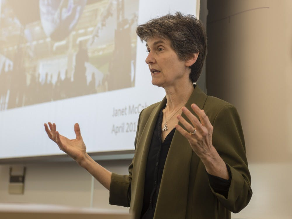 """Janet McCabe speak during her lecture """"Air Quality and the Trump Administration"""" Monday evening at SPEA. McCabe was EPA Air and Radiation Administrator for President Obama."""