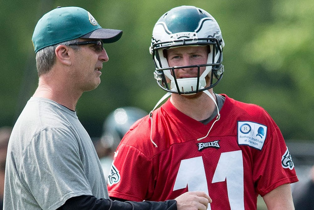 <p>Then-Eagles offensive coordinator Frank Reich talks with rookie Carson Wentz during a 2018 practice. Wentz and Reich will reunite in the 2021-22 season as Wentz joins the Indianapolis Colts roster. </p>